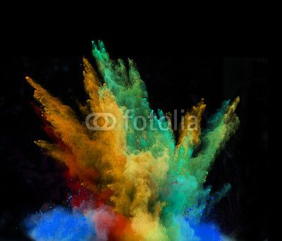 launched colorful powder over black© Kesu