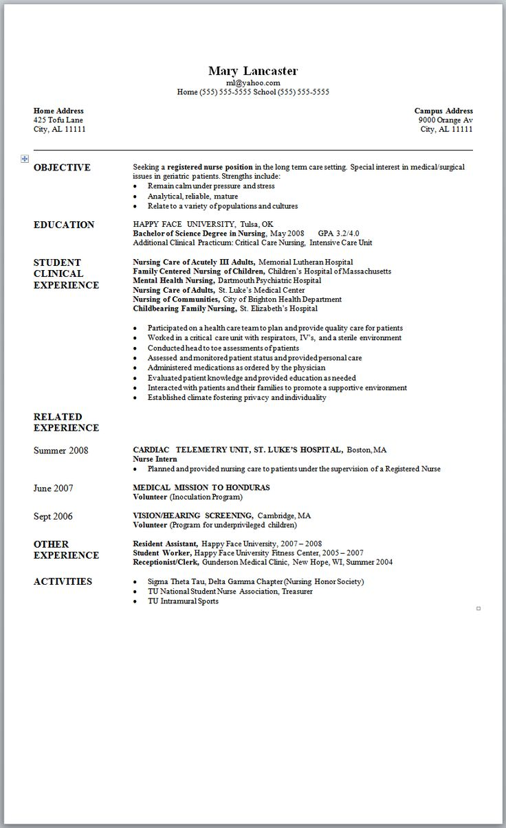 The 25 Best Nursing Resume Ideas On Pinterest Nursing Resume