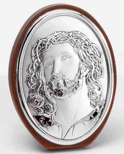Srebrny obraz Jezus Chrystus w ciernistej koronie stanowi doskonały prezent na wiele okazji. #komunia #chrzest #dla_babci