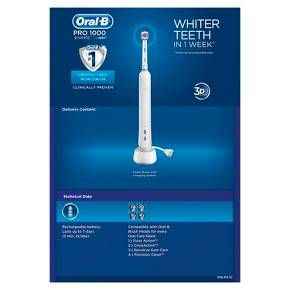 Experience the power of Oral-B with Oral-B Professional Healthy Clean! Provides up to 5x better plaque removal at the gumline.* Features include Precision Clean refill brush head with Indicator bristles which fade half-way to indicate when to replace brush head for better cleaning, waterproof ergonomic handle, professional timer, 1 cleaning mode (Daily Clean), in handle display with charge level display and portable charging station. *vs. a regular manual toothbrush