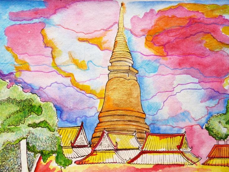 Side walk sketching while in Bangkok, near Khao San