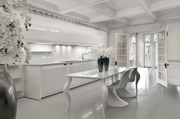 Scic.Diamond.Kitchen in white colore with dinning table