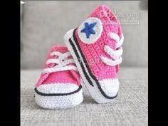 Crochet Tutorial - How to crochet Baby Converse Booties - Shoes.Booties.Slippers Crochet