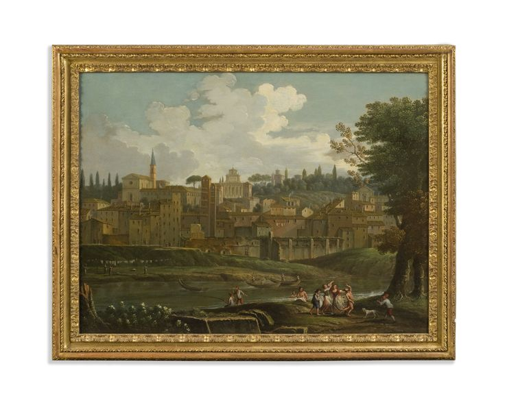Circle of Paolo Anesi (Rome 1697-1773) View of the Janiculum Hill in Rome with figures on the banks of Tevere Oil on canvas Period: 18th Century