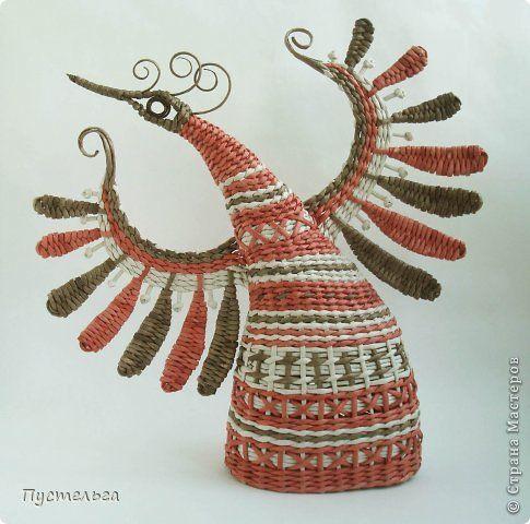 Мастер-класс Поделка изделие Плетение Пташечка Бумага Трубочки бумажные фото 2