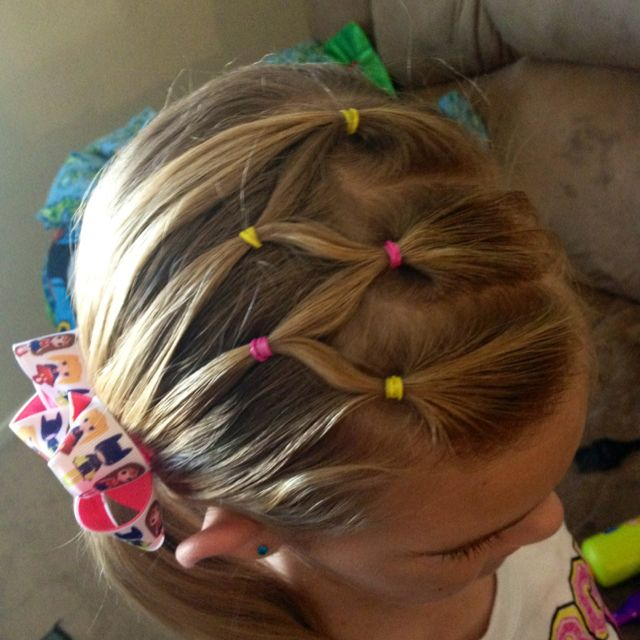 Great for Hadyn's hair when she plays soccer or gymnastics.