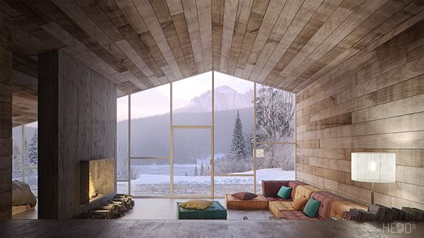 Black Lake vacation cabin by HEaD studio, via Behance