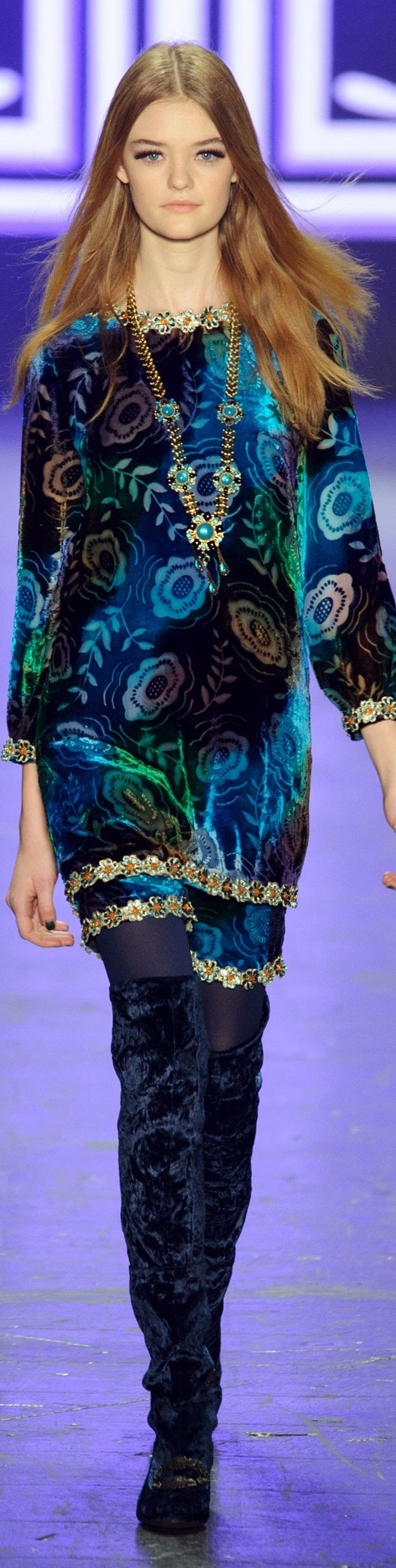 Anna Sui F-16 RTW: floral dress, knee boots.