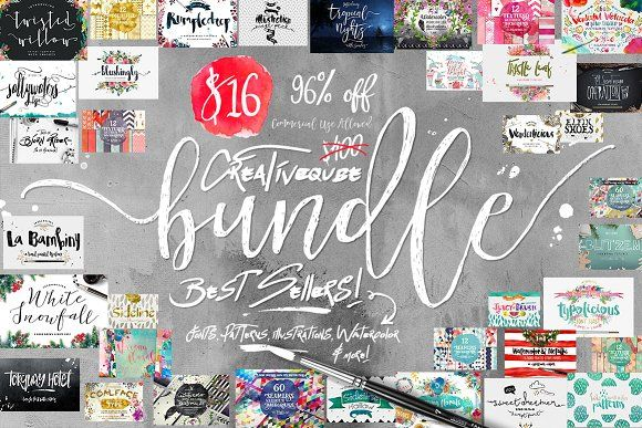 96% OFF Font Bundle Plus Graphics by Creativeqube Design on @creativemarket