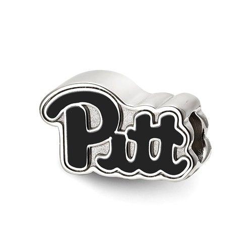 Sterling+Silver+University+of+Pittsburgh+Pitt+Script+Enameled+Logo+Bead+SS500UPI #pitt