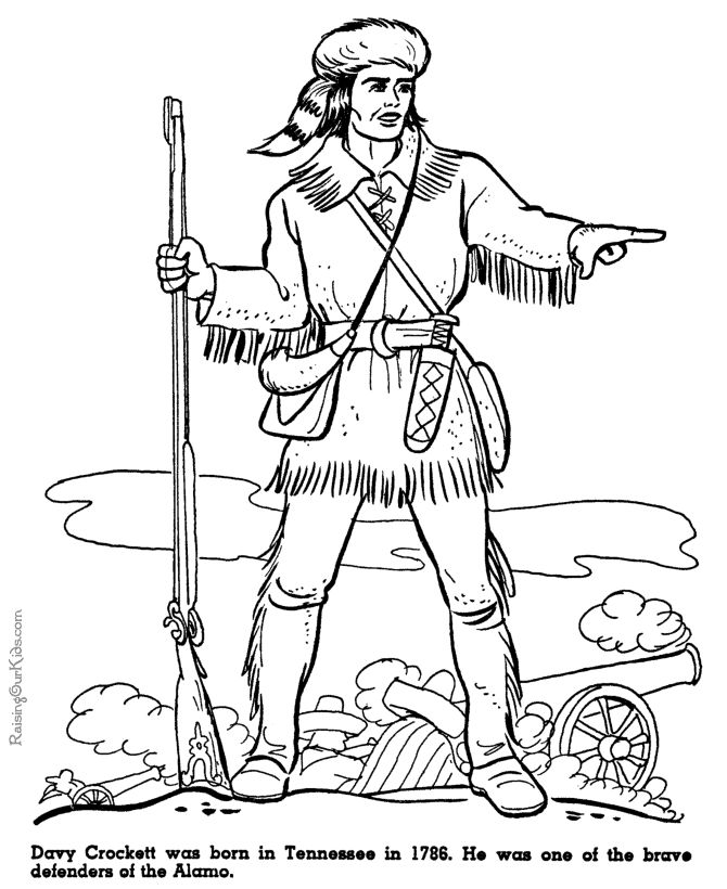 WK 5: Davy Crockett at Alamo coloring pages