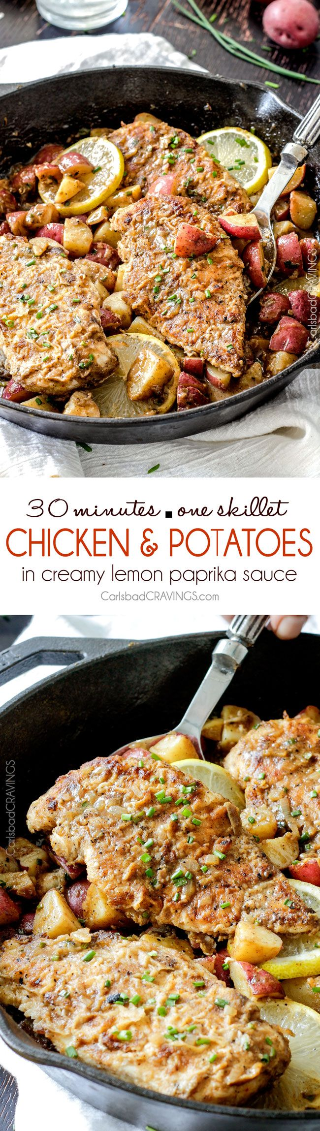 30 Minute Chicken and Potato Skillet in Creamy Lemon Paprika Sauce - quick and easy one pan meal (and one microwave dish), bursting with flavor. The potatoes finish cooking in the incredible sauce so they are SO flavorful and the crispy chicken is amazing!