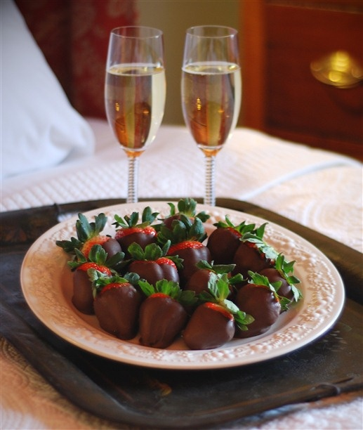Chocolate-covered strawberries at Burlington's Willis Graves Bed & Breakfast Inn