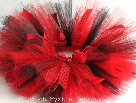 Ladybug Tutu-Red and black tutus-Ladybug birthday-Lady bug birthday party-Ladybug Costume