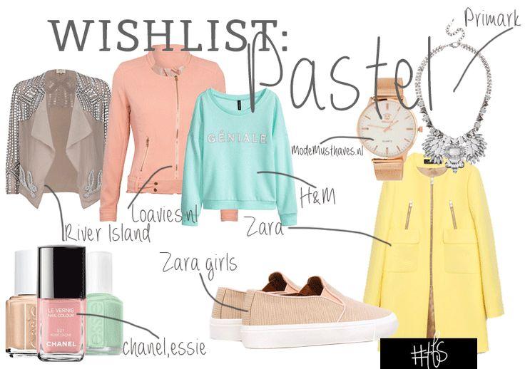 #TFS-WISHLIST: PERFECT PASTELS  De pasteltinten zijn back! In 2013 lag het accent nog op poeder-roze, maar nu kunnen we ook helemaal los gaan met babyblauwe, mintgroene of lichtgele fashion-items. Deze heerlijke zoetsappige kleurtjes vindt je allemaal terug in dé modetrend van dit voorjaar. Bij alle grote catwalkshows zag je de pasteltinten voorbij komen, van Chanel tot Dior! Droom weg met onze pastel-wishlist en laat je inspireren door TFS!