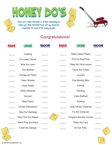 Honey Do's Bridal Shower Game. I like the idea but would modify this list.