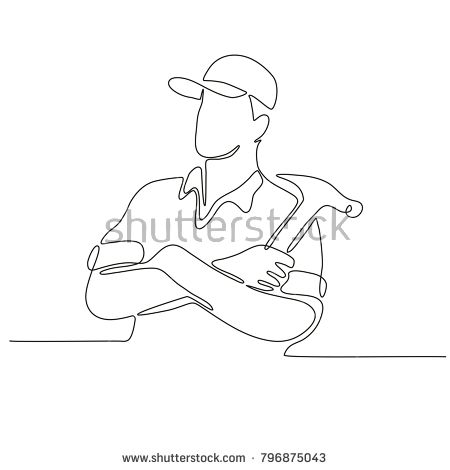 Continuous line drawing illustration of a builder, carpenter or construction worker arms crossed with hammer done in sketch or doodle style.   #carpenter #continuousline #illustration