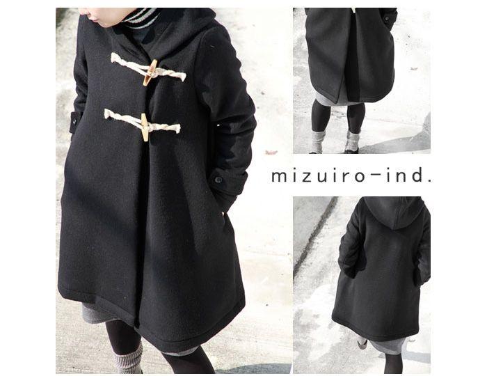 mizuiro-ind(ミズイロインド)Aラインウールダッフルロングコート 4-22015