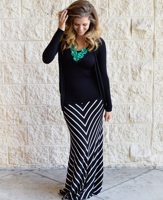$26.99 Black and White Maxi Skirt. Such a flattering style!