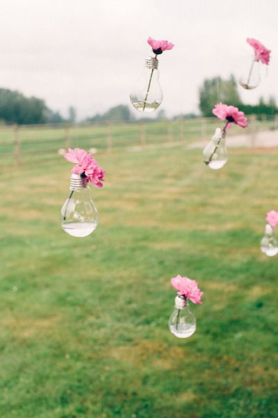 DIY lightbulb vases: http://www.stylemepretty.com/canada-weddings/british-columbia/2014/11/18/rustic-diy-backyard-wedding-in-vancouver/ | Shoebox Photography - http://www.shoeboxphotography.ca/