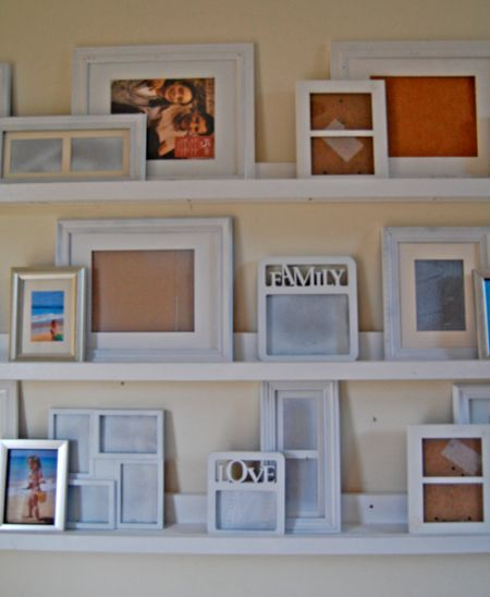 DIY: Gallery Ledges - these ledges cost $10 to make & are awesome! Instead of hanging pictures on the wall (& putting holes in the wall!), display pics on the ledges. DIY plans on the link.