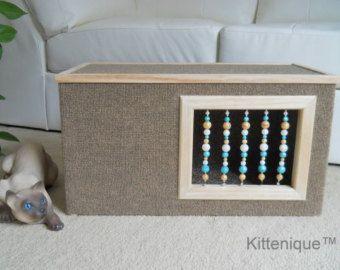Marrón de cuentas gato casa - muebles de madera gato - única moldeada puerta y ventana con plata de ley - condominio de lujo gato alfombradas, Cueva del gato.
