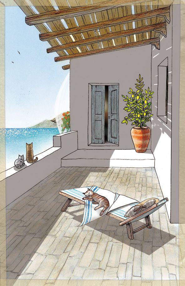 #BettinaBaldassari Charming #Artwork La casa in Grecia. Pen + soft pastels + Photoshop #illustration #art #poetry #graphics #cats