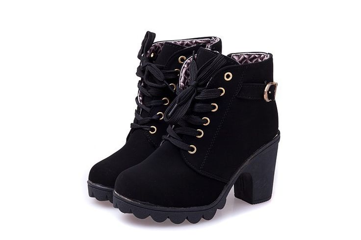 Black New 2014 brand platform high heel single shoes vintage Women Motorcycle Boots Martin Boots
