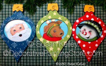 Christmas Trio ePacket - Susan Kelley - PDF DOWNLOAD #SusanKelley #ChristmasOrnamentPattern  #ePattern #DecorativePaintingStore.com #PaintingPattern #reindeerornamentpattern #Santaornamentpattern #snowmanornamentpattern