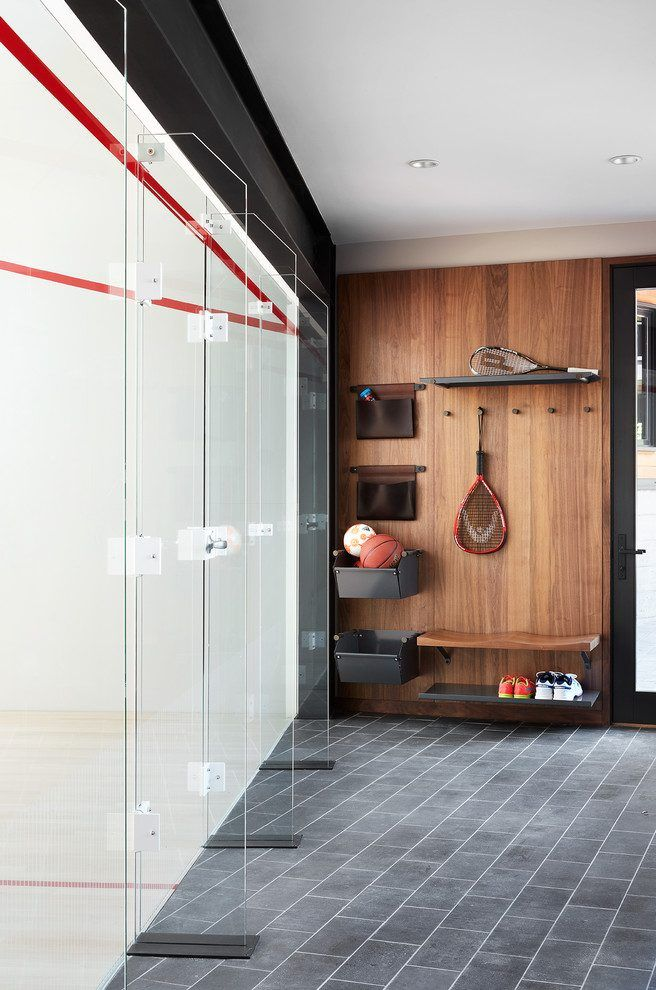 Amazing home gym flooring interior designs with glass doors and