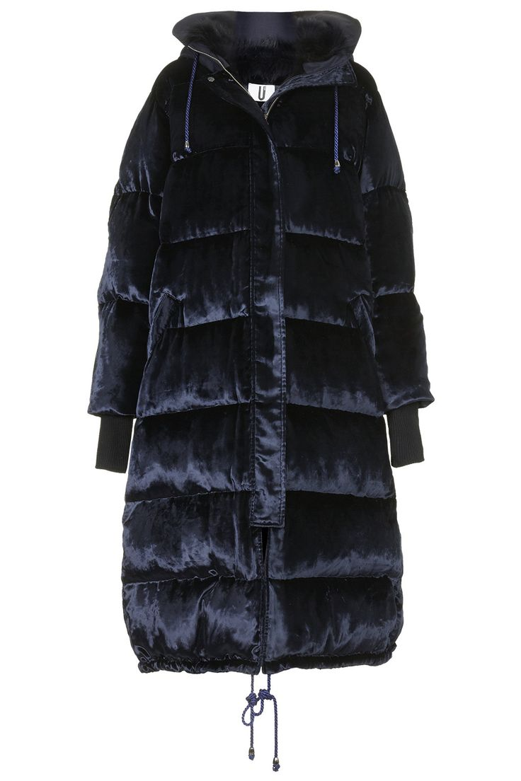 Long Velvet Puffa Coat by Topshop Unique