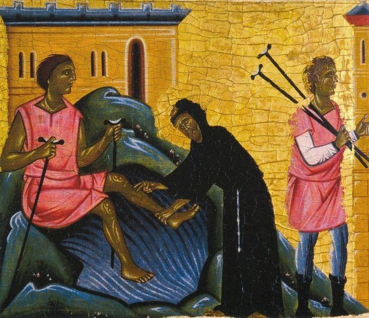 Maestro della Croce n. 434 degli Uffizi e Maestro di Santa Maria Primerana - San Francesco e otto storie della sua leggenda, (dettaglio: Guarigione di Bartolomeo da Narni) - 1250-1260 - Tempera su tavola - Pistoia, Museo Civico.