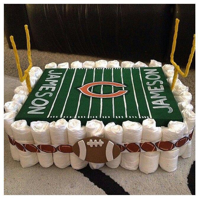 Diaper cake football theme