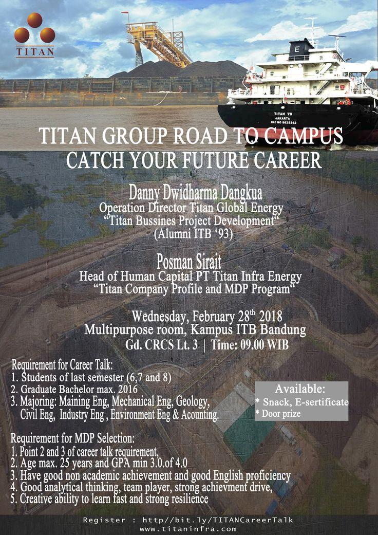 """IKUTI! Career Talk """"Catch your Future Career"""" & Rekrutmen untuk program TMDP.  Rabu, 28 Feb 2018 Multipurpose Room CRCS Building Lt.3 Pk. 09.00 - Pk. 12.00  Acara ini terbuka untuk Umum, Mahasiswa tingkat akhir dan Alumni.  Reg >> http://bit.ly/TITANCareerTalk ps. bawa CV & laptop ya"""