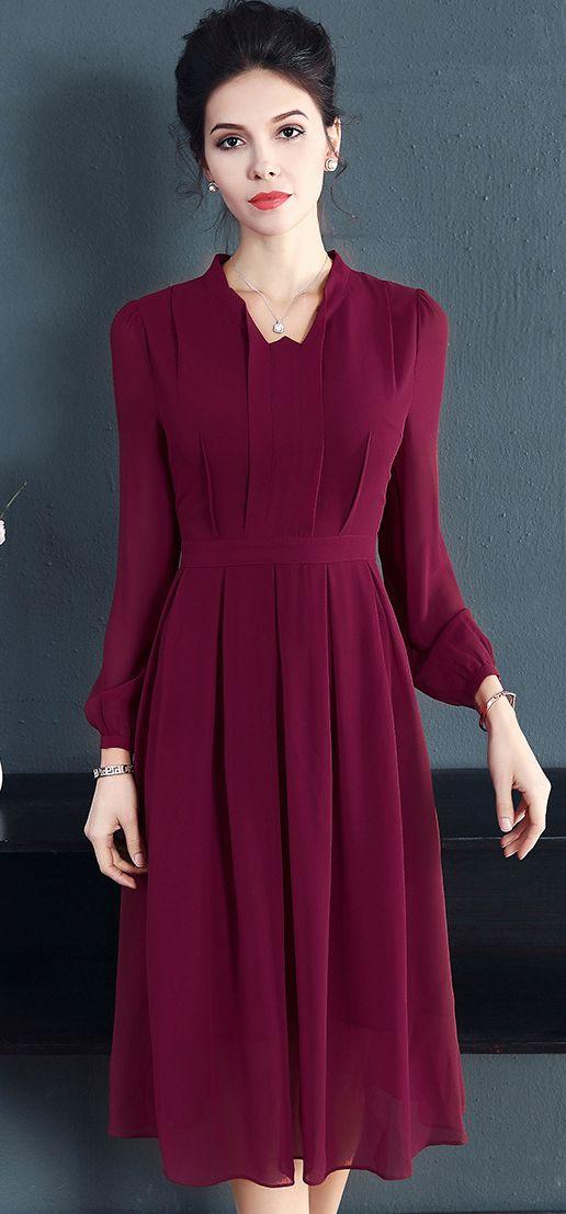286e21d287a Vintage Pure Color Long Sleeve Pleated Skater Dress
