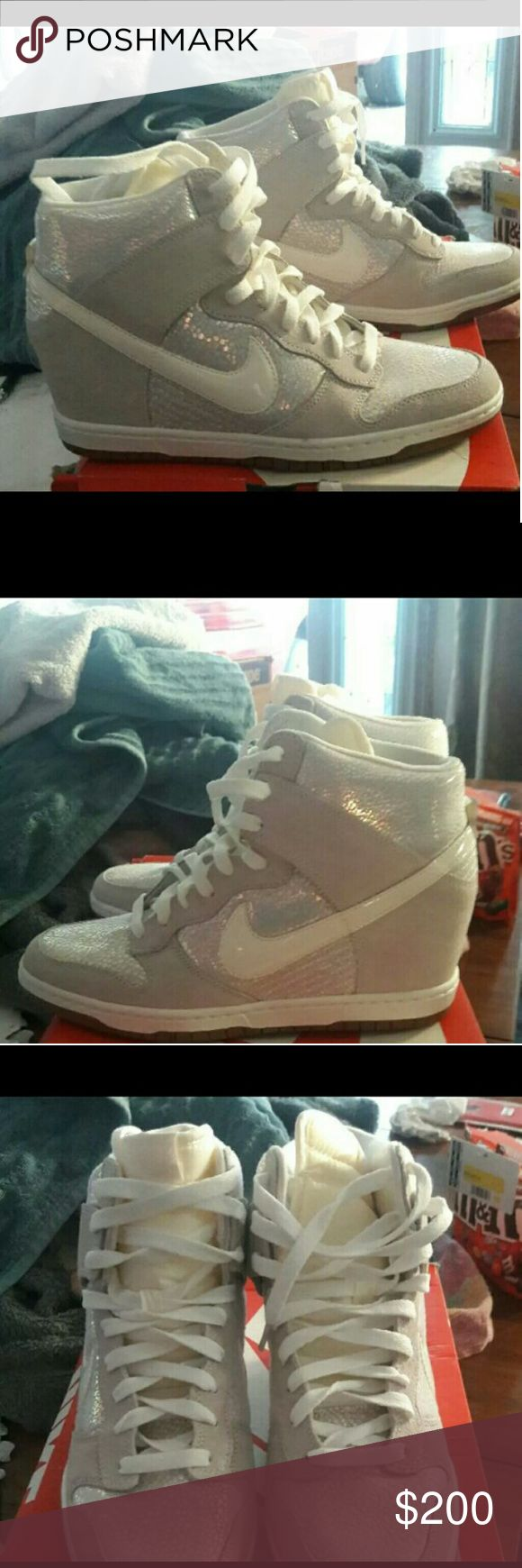 Nike dunk sky hi prim Pearl sparkle hidden wedge nike sky hi womens shoes.  Worn 1 time.  Extremely Rare find.  Size 10 womans,  comes in original box.  Excellent condition Nike Shoes Wedges