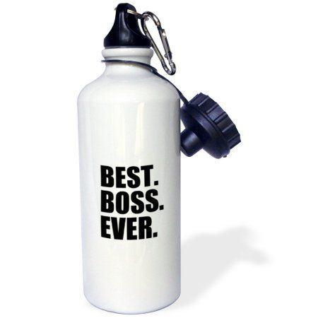 3dRose Best Boss Ever - fun funny humorous gifts for the boss - work office humor - black text, Sports Water Bottle, 21oz
