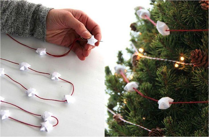Girlande für den Weihnachtsbaum aus Glückssternchen