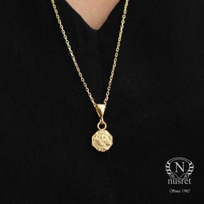 925 Ayar Gümüş Asker Figürlü Madalyon Kolye, Sarı