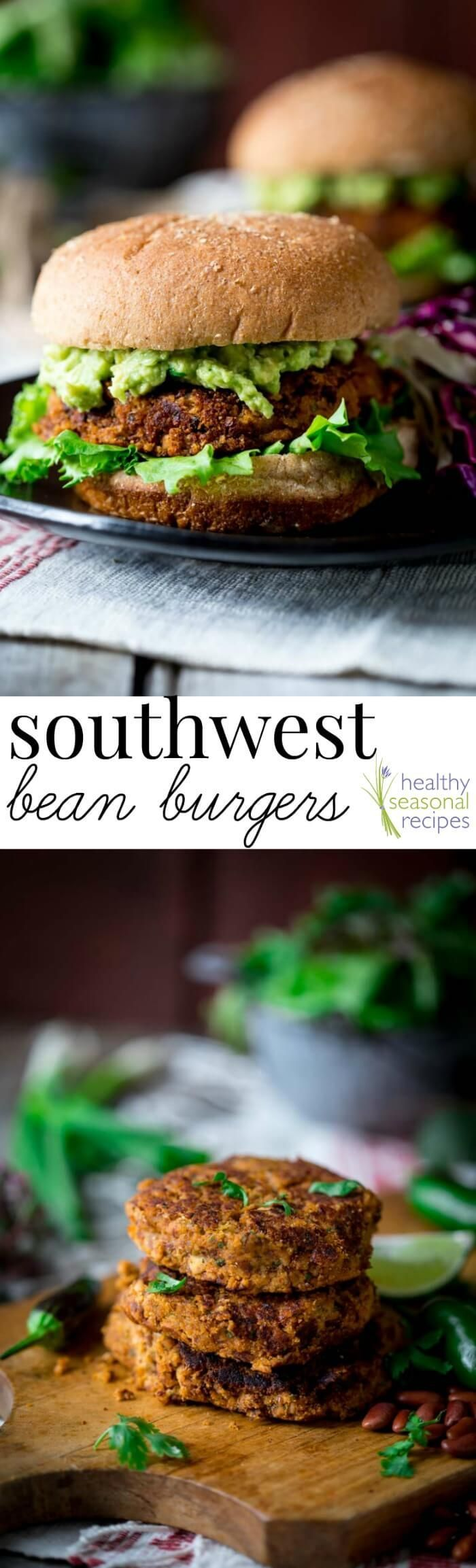 These Southwest Bean Burgers are savory and tender patties of goodness that will satisfy all of your vegetarian comfort food cravings. With a gluten-free option! Healthy Seasonal Recipes.