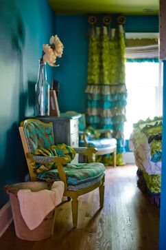 Turquoise & Chartreuse Green Bedroom.  Ruffled Window Panels. Leopard and Damask Chair! Ashley Taylor Home