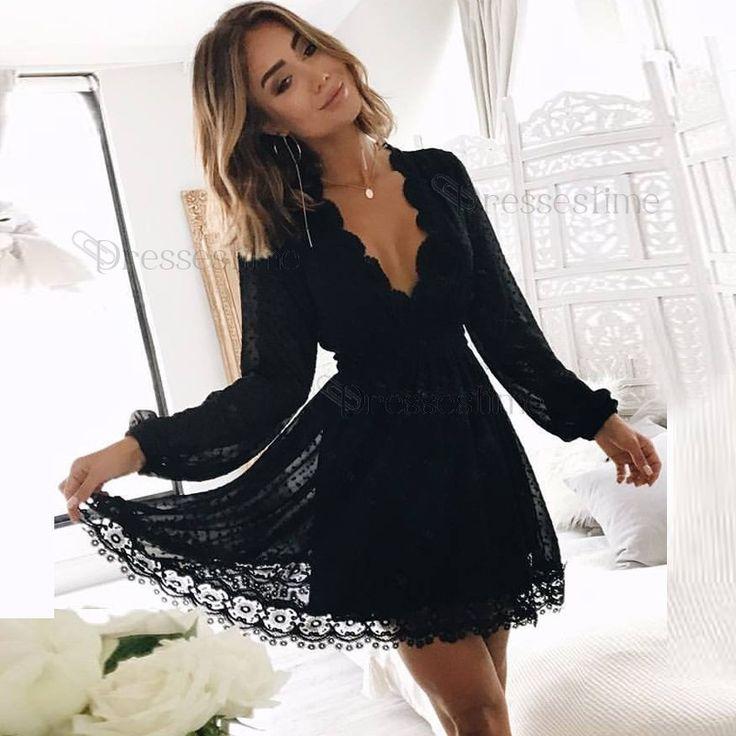 A-Line Deep V-Neck Long Sleeves Black Lace Short Homecoming Dress