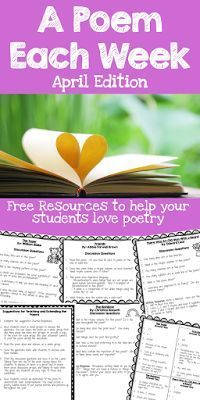 FREE Poetry Resources - April A Poem Each Week. Discussion questions and activities for 4 poems to celebrate April! Get ready for Poetry Month with these poetry lessons.