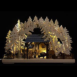 3D Schwibbogen Reiterhof von Ratags - 43x30cm authentic handcraft from the German Ore Mountains. Christmas decoration Made in Germany.