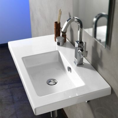 Condal Ceramic 32″ Wall Mount Bathroom Sink with Overflow