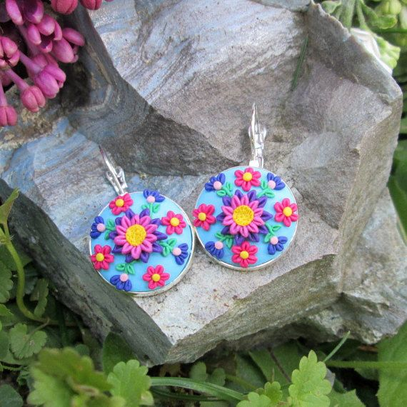 polymer clay earrings floral dangle earrings flowers gifts fashion style boho hippie by FloralFantasyDreams on Etsy