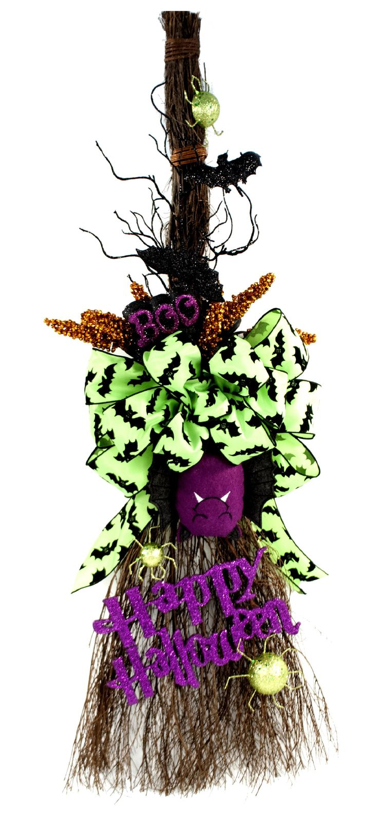Halloween Batty Broom #halloween use a cinnamon broom for the front door instead of wreath