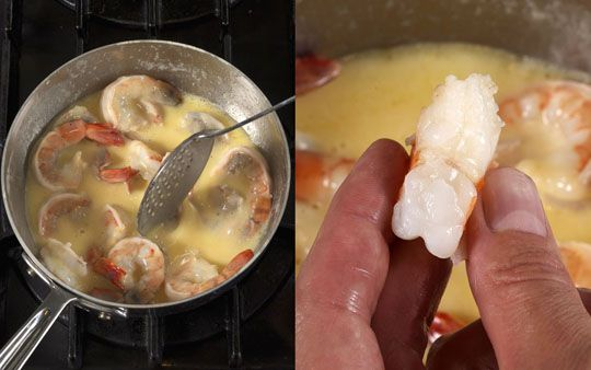 Beurre Monte, or Butter Poaching Method for Shrimp (and other fish) - serve with pasta/grits and veggies