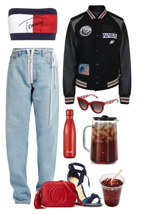 """""""Untitled #2159"""" by seventeene ❤ liked on Polyvore featuring Tommy Hilfiger, Alexandre Birman, Off-White, Gucci, Coach, S'well and Capresso"""