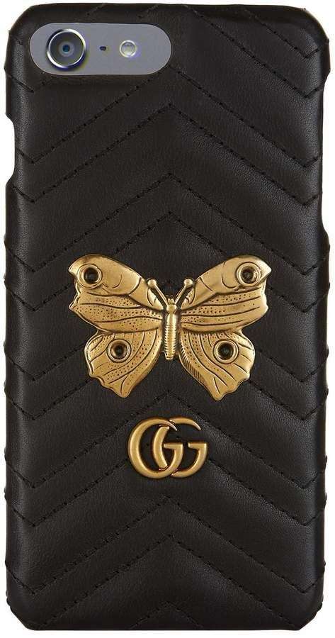 491a9d96ffa Gucci GG Marmont Moth Stud iPhone 7+ Case